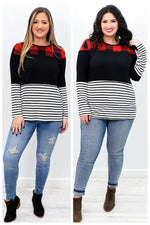 Be A Rainbow In Someone's Storm Black/Red Colorblock Top - B9777BK