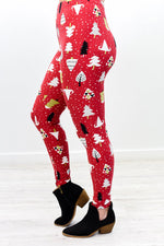 Red/Multi Color Christmas Tree Printed Leggings (Sizes 4-12) - LEG2558RD