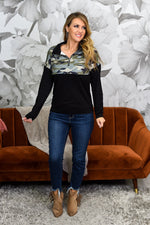 Can't Be Found Vintage Olive Camouflage Top - B9236VOL