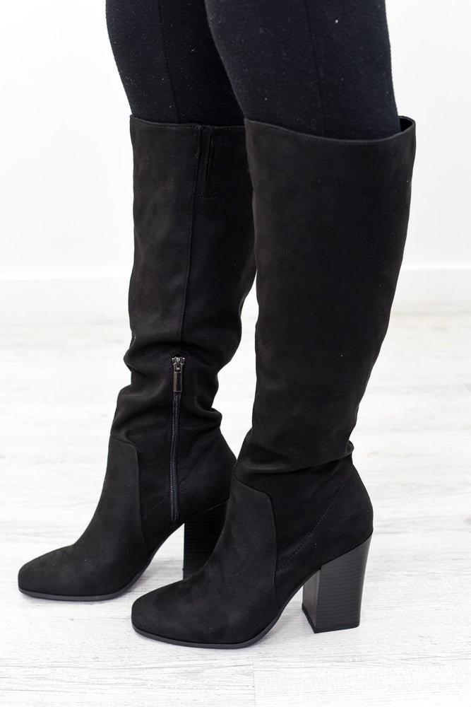 Full Blown Diva Black Suede Boots - SHO1908BK