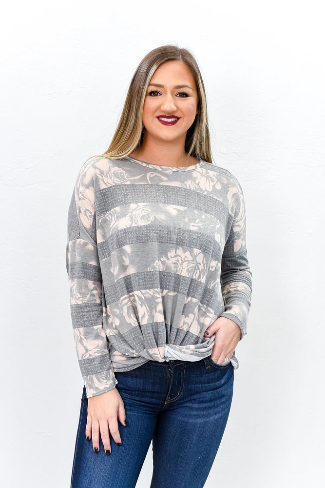 Brighter Futures Gray Floral/Striped Front Twist Top - B9826GR