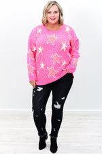 You're Going Star Hot Pink Star Printed Sweater Top - B9238HPK
