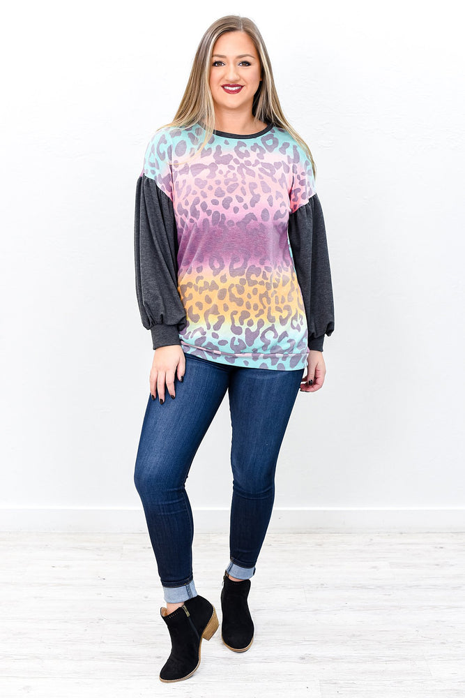 Storms Make Trees Take Deeper Roots Mustard/Multi Color Leopard Top - B9835MS