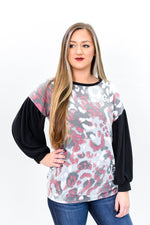 Looks Fierce On You Gray/Multi Color Leopard Top - B9834GR