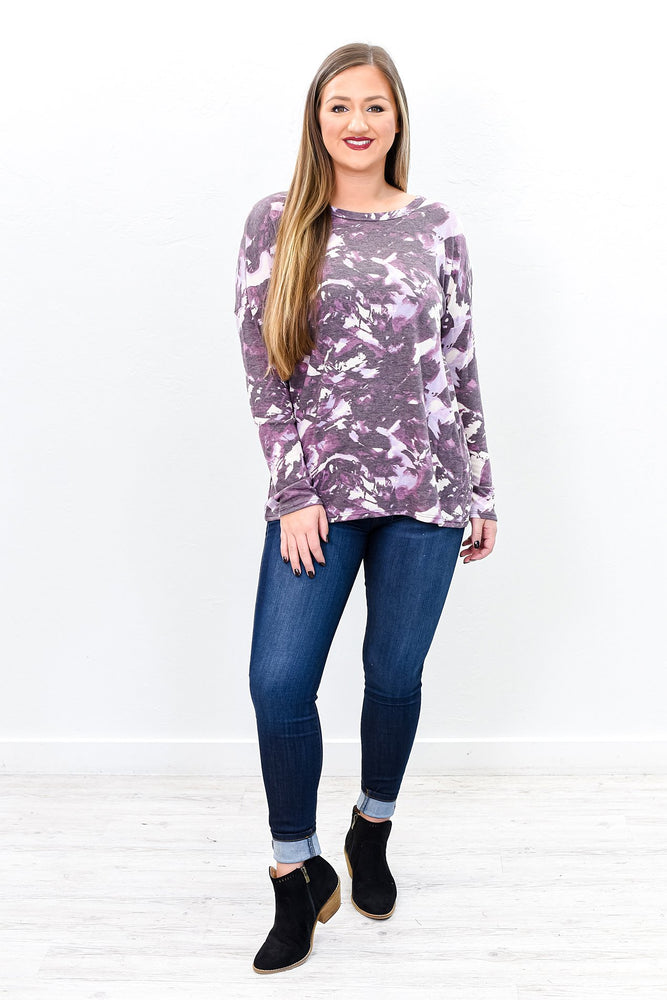 To A Great Mind Nothing Is Little Purple Tie Dye Top - B9839PU