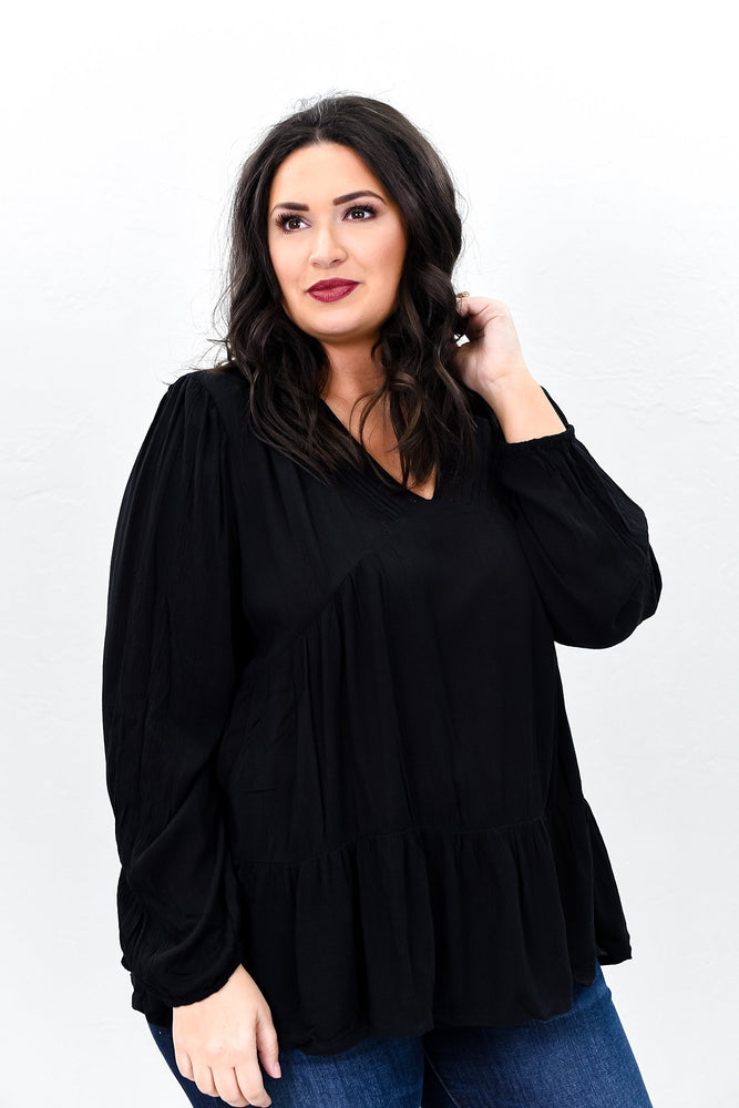 Trusting You With All My Heart Black Crochet V Neck Top - B9818BK
