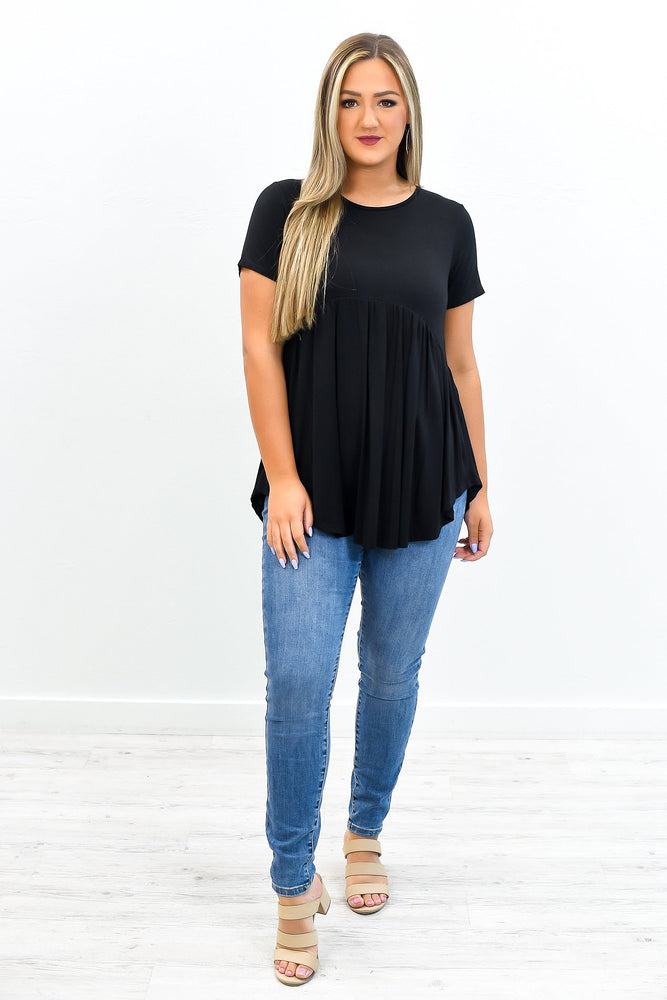 Timeless Moves Black High-Low Babydoll Top - B10868BK