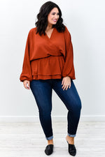 Sneaking Into Fall Rust Solid V Neck Top - B9245RU
