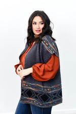 Make It Happen Charcoal Gray/Multi Color Tribal Printed Kimono - O2659CG