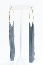 Long Dark Gray Tassel Gold Hoop Earrings EAR3049DGR