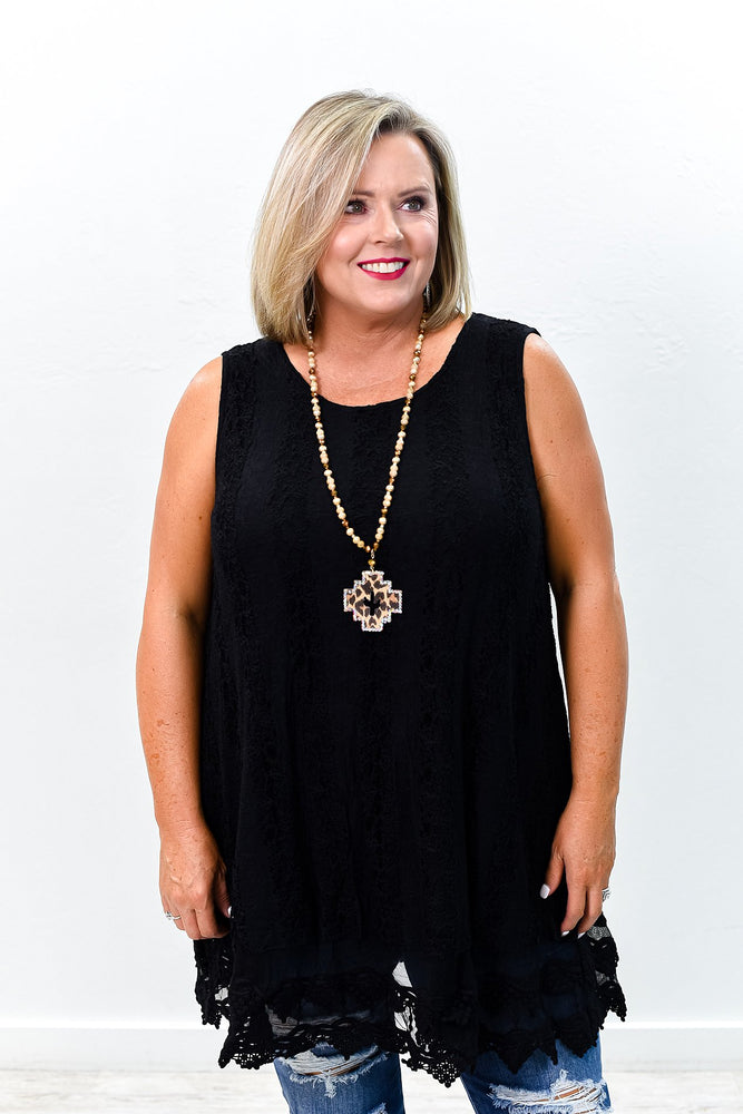 Keep Giving It Your All Black Lace Sleeveless Tunic - B9259BK