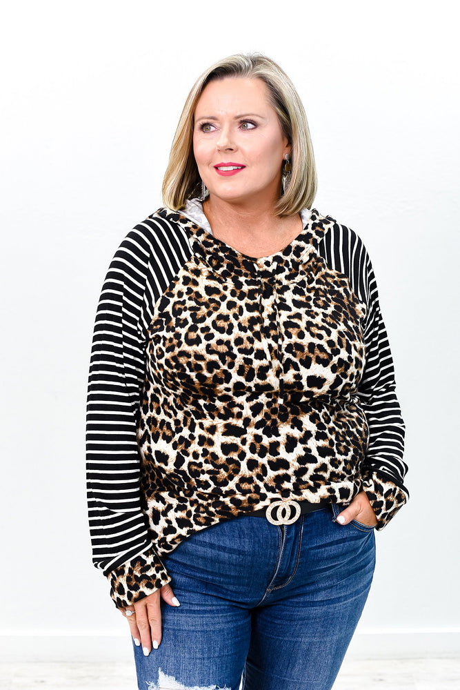 Driving Me Crazy Black Striped/Leopard Hooded Top - B9282BK