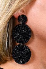 Black 3-Tier Seed Bead Earrings - EAR3044BK