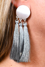 Gray Triple Satin Metallic Tassel Earrings - EAR3053GR