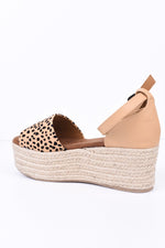 Take A Chance Tan Leopard Espadrille Platform Sandals - SHO1797TN