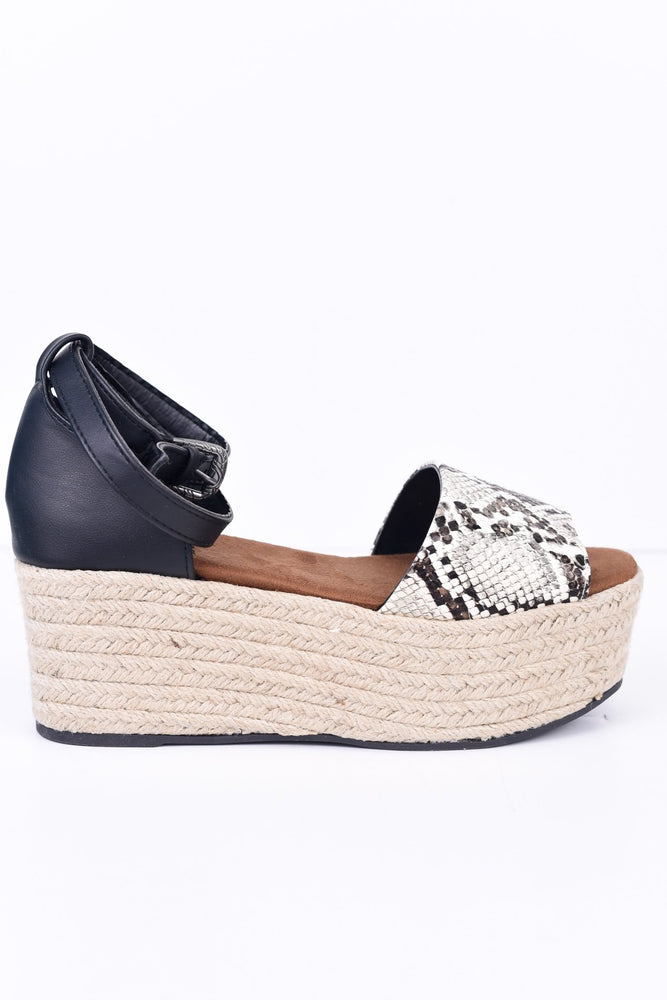 Take A Chance Black Snakeskin Espadrille Platform Sandals - SHO1796BK