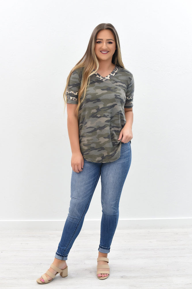 Heart Of A Champion Olive Camouflage/Leopard V Neck Top - B8171OL
