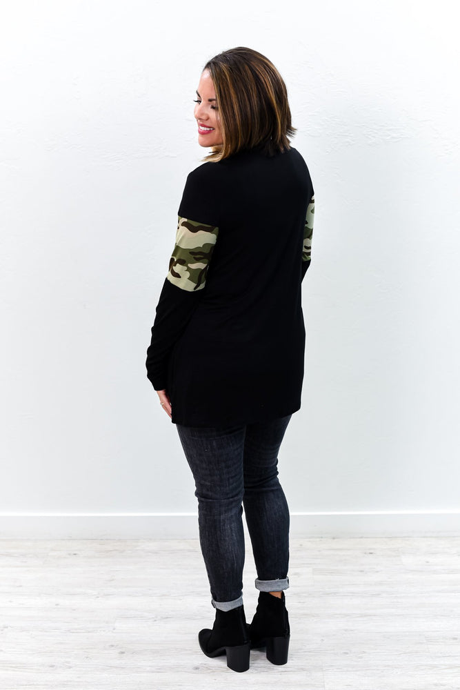 Here's Your Chance Black Camouflage Long Sleeve Top - B9278BK
