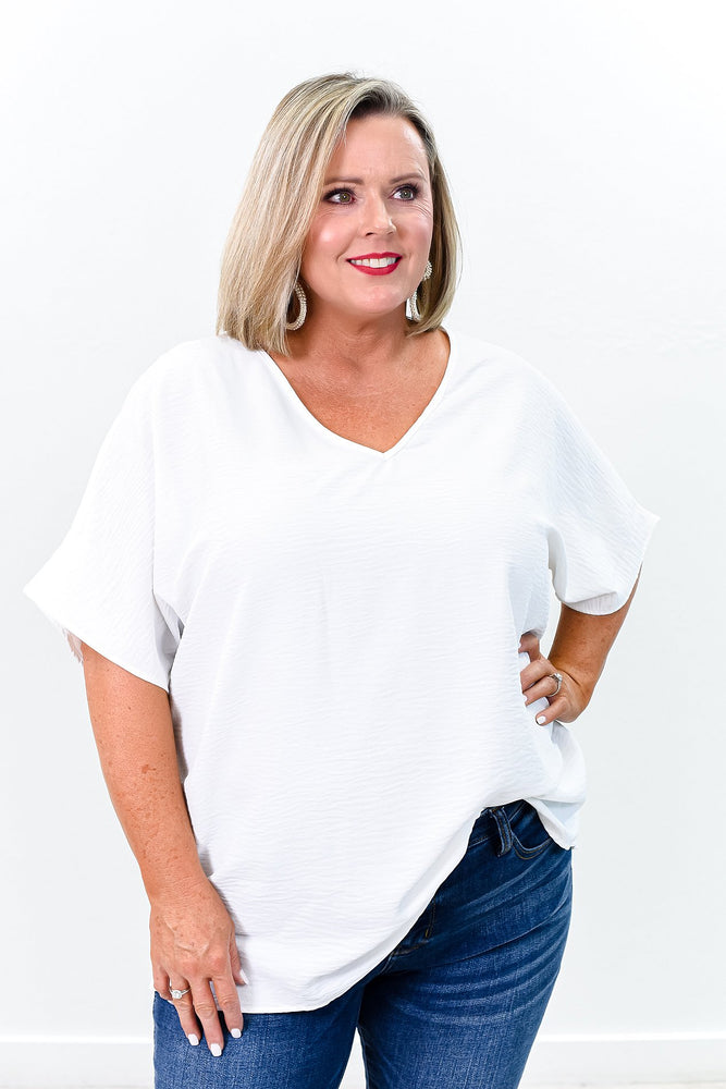 Simply The Best Off White Solid V Neck Top - B9253OW