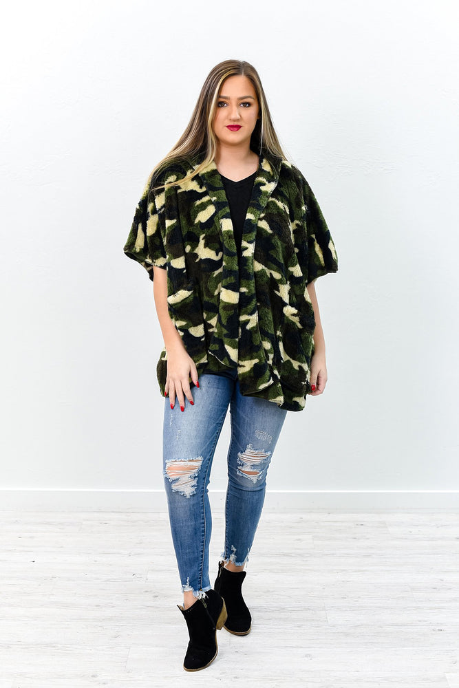 Reserved For Cuddles Camouflage Fuzzy Hooded Kimono - O2967CA