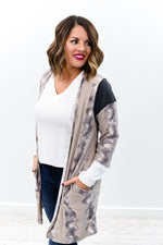 Surviving The Cold Taupe/Charcoal Gray Printed Cardigan - O2818TA