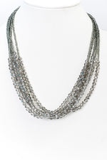 Gray Crystal Beaded Layered Necklace - NEK3661GR