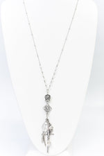 Silver Armor/Crown Charm Pendants/Crystal Necklace - NEK3662SI
