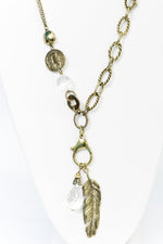 Gold Feather Charm/Crystal Pendant Necklace - NEK3660GO
