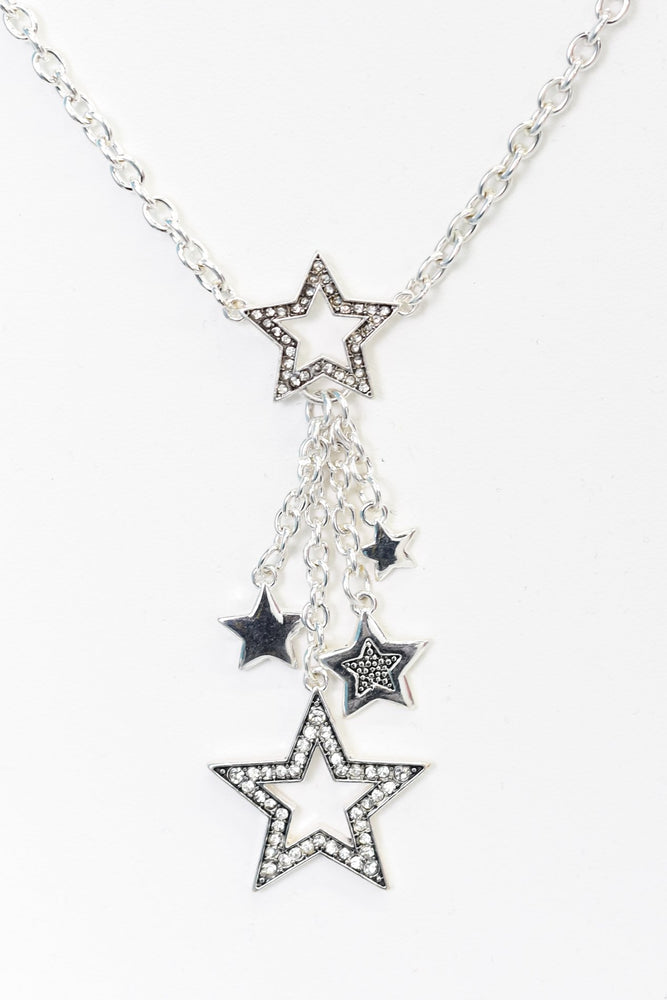 Silver Star Drop Charm Necklace - NEK3663SI