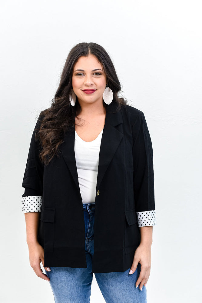 Major Moment Black/White Polka Dot Blazer - O2973BK