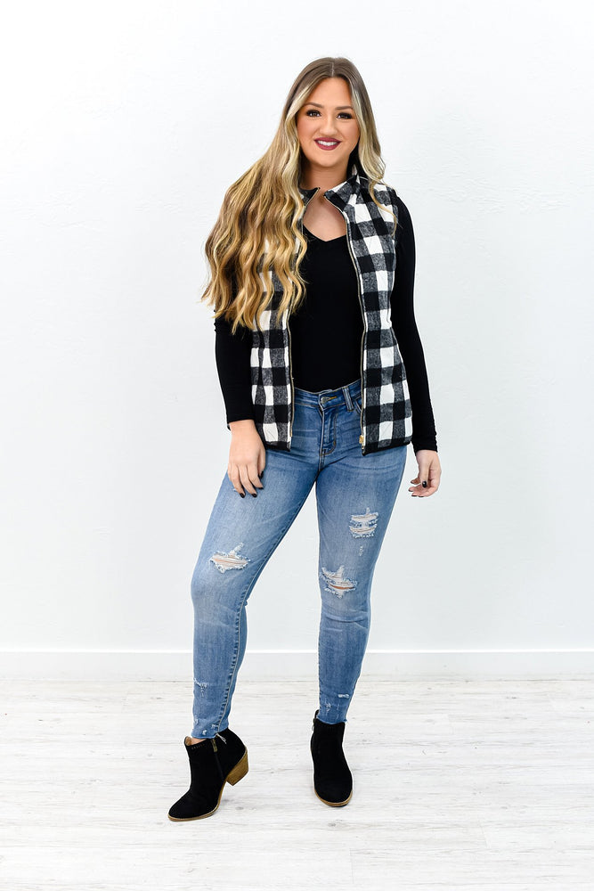 You Can If You Think You Can Black/Ivory Checkered Vest - O2831BK