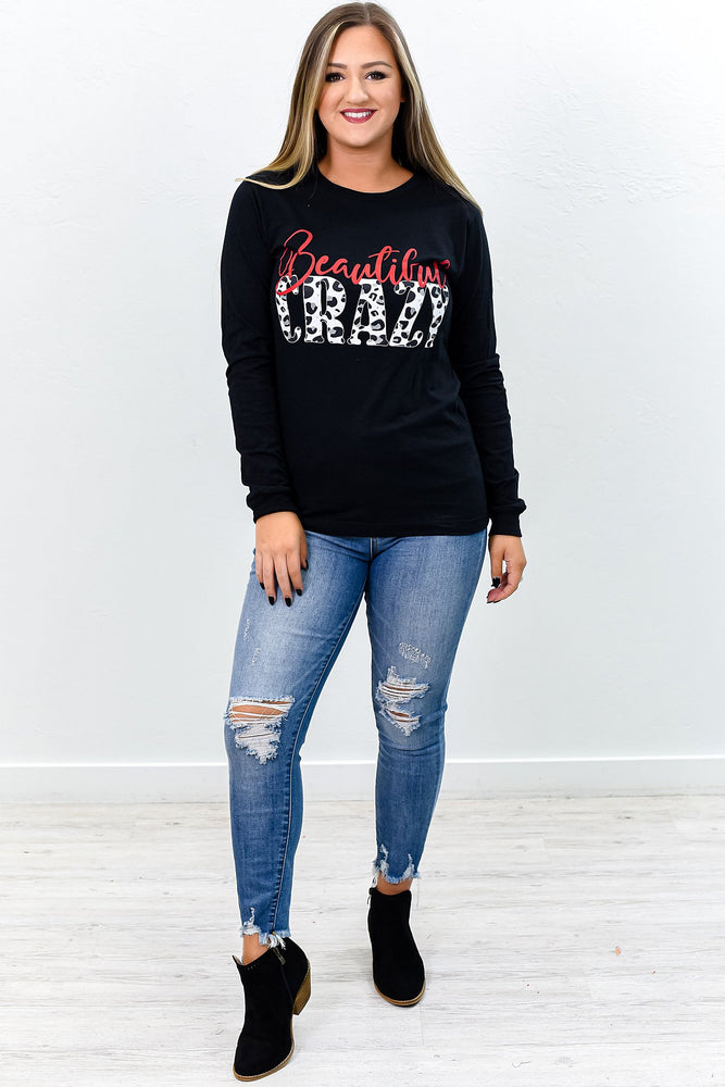 Beautiful Crazy Heather Black Graphic Tee - A809HBK