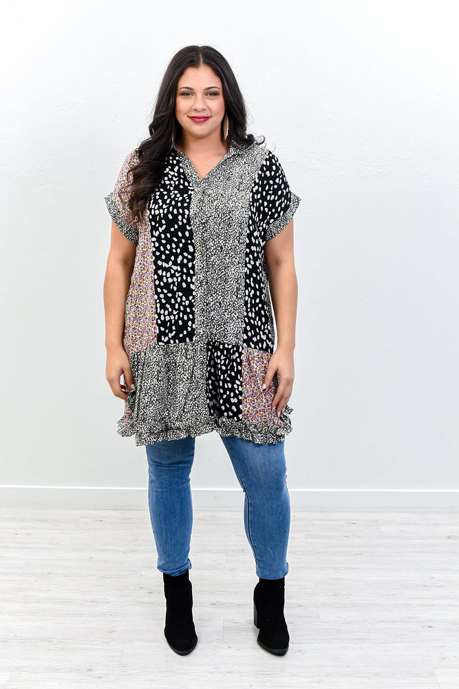 It's All For The Look Charcoal Gray/Multi Color Multi Pattern V Neck Tunic - B10453CG