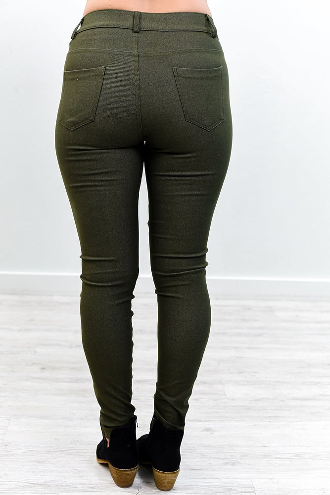 Better This Way Army Green Jeggings - JEG562AG