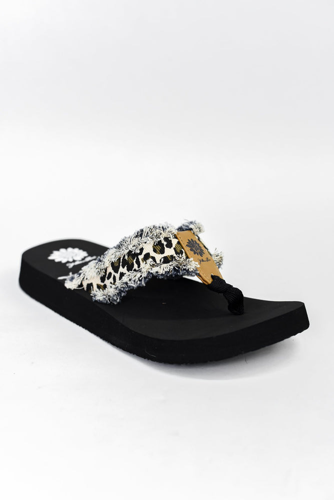 Stylish Reputation Cream Leopard Frayed Sandals - SHO1939CR