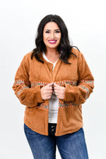 Play It Cool Camel Embroidered Fuzzy Jacket - O2676CA