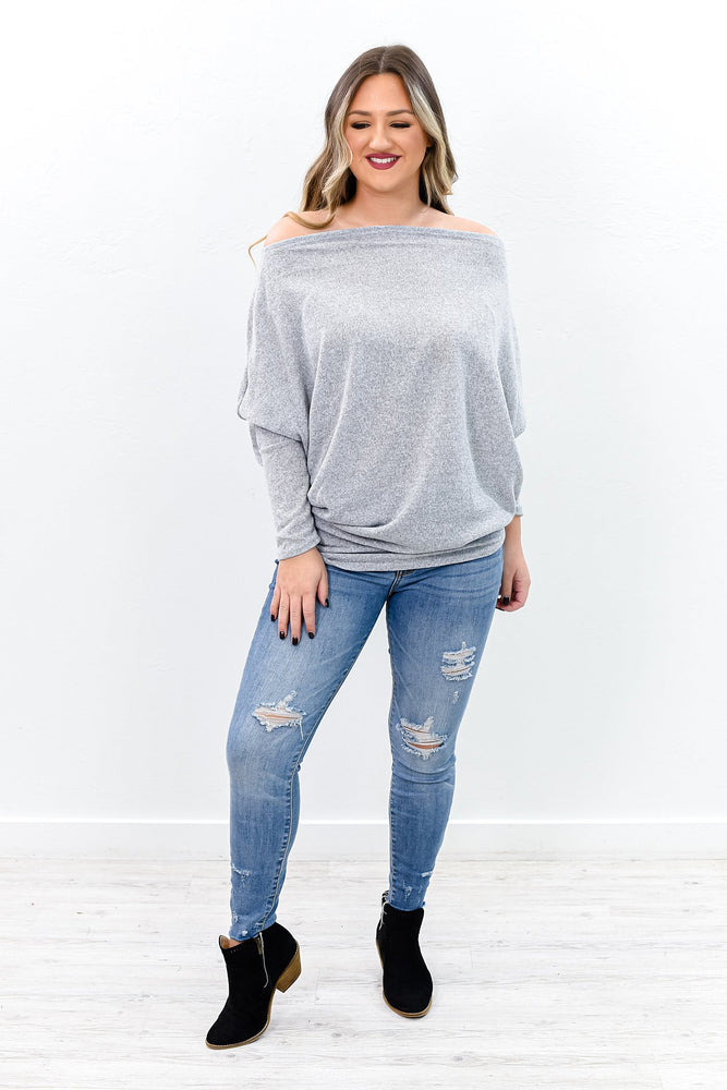 Love Me Like You Do Heather Gray Off The Shoulder Top - B9913HGR