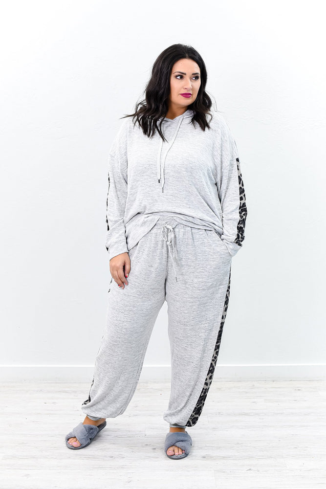 All About The Details Heather Gray Leopard Joggers - PNT1147HGR