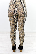 Take Notes Taupe Snakeskin Wide Band Leggings - LEG2744TA