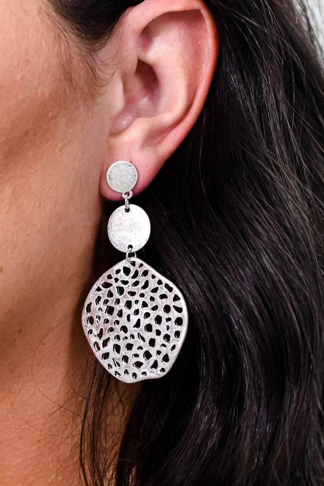 Silver 3-Tier Hammered/Textured Circle Earrings - EAR3041SI