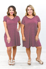 You're Just In Love Burgundy/Ivory Striped V Neck Dress - D3702BU