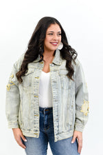 Bonjour Brunch Light Denim Distressed Patched Jacket - O2983DN