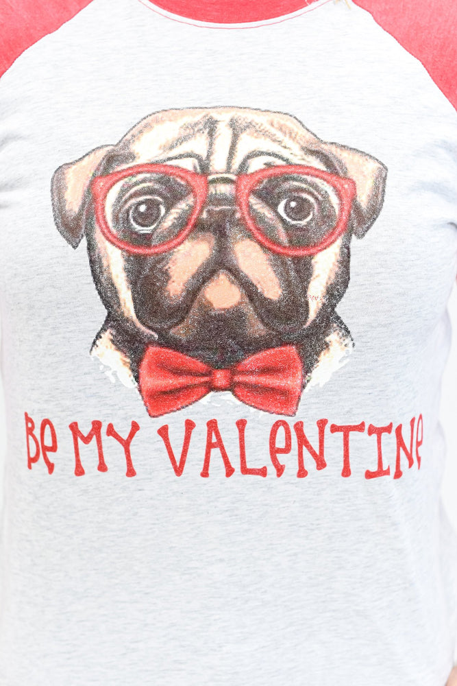 Be My Valentine Heather White/Vintage Red Pug Printed Graphic Tee - A1074HWH