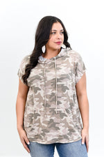 I've Got Places To Go Light Mocha Camouflage Hooded Top - B10465LMO