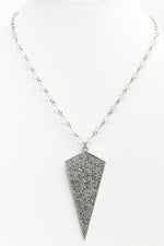 Silver Bling Pendant Crystal Beaded Necklace - NEK3525SI