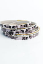 Gray Camouflage/Bling Multi Strand Wrap Magnetic Closure Bracelet - BRC2805GR