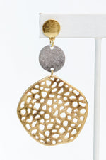 Gold 3-Tier Hammered/Textured Circle Earrings - EAR3040GO