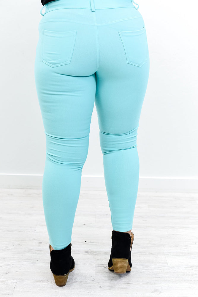 Better This Way Turquoise Jeggings - JEG563TU