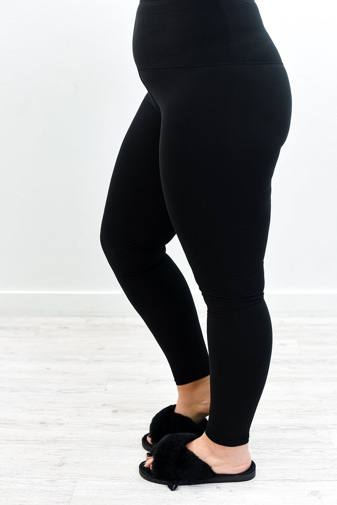 Black Wide Band Leggings (Sizes 12-18) - LEG2865BK