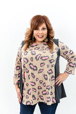 Better Days Ahead Brown/Pink Leopard Top - B10027BR